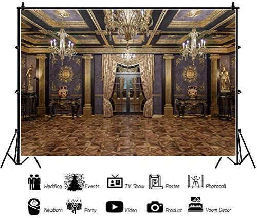 YEELE Classic Wall Backdrop 12x8ft Luxury Room Interior with Mouldings Photography Background Classcial Architecture Kids Adults Portrait Photoshoot Props Wallpaper