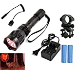 ilauke Tactical Red Laser Flashlight Scope Hunting Red Dot Sight 350LM Coyote Hog LED CREE Torch Lighting with 1*Barrel Mount+2*18650 Battery+1*Remote Pressure Switch+Dual Charger