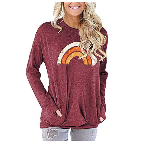 Women Rainbow Blouse Long Sleeve Casual Fall Tuinc Tops Graphic Tee Shirt Pocket T Shirts Sweaters for Women