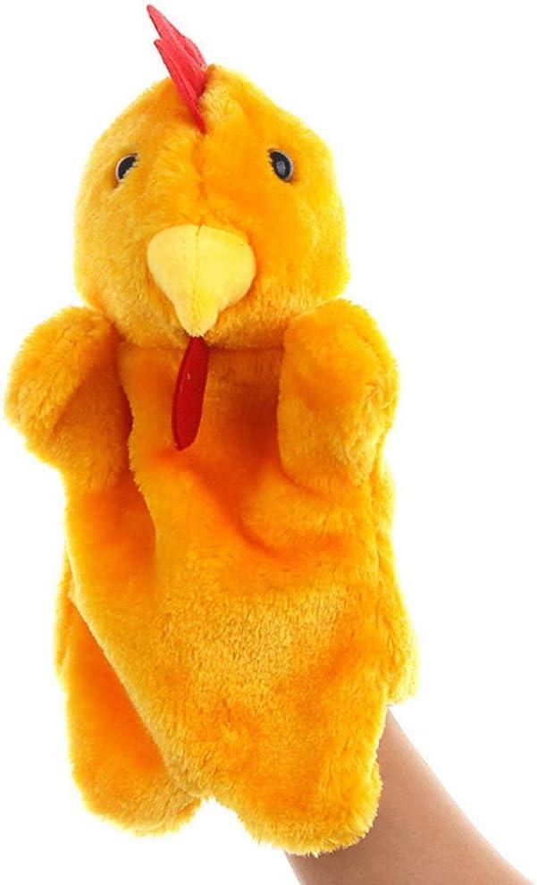 Poooc Animal de juguete de forma suave Gallo Gallina de los niños marioneta de mano de la muñeca de la novedad juguetes for los niños de la mano marioneta del guante niños Inteligente Juguete suave re