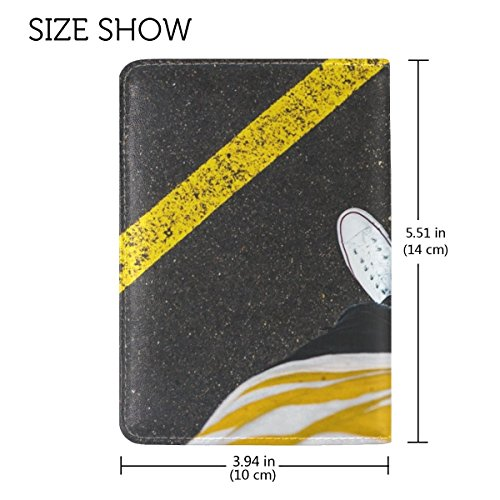 6482ae4a2cda Legs Asphalt Marking Leather Passport Holder Cover Case Travel One ...