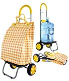 dbest products Trolley Dolly Basket Weave Tote, Yellow Shopping Grocery Foldable Cart Picnic Beach