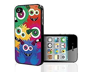 Colorful Monsters on Purple Background Background Hard Snap on Phone Case (iPhone 4/4s)