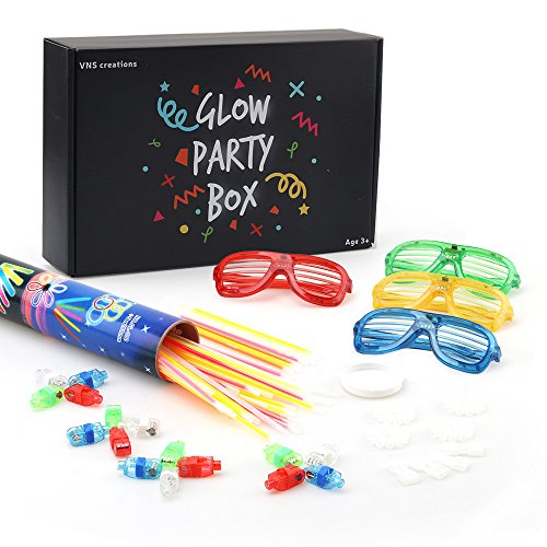 Glow Party Box | Light Up Toys Party Pack | 100 Glow Sticks with Multiple Connectors | 20 LED Finger Lights | 4 LED Stunner Flashing Shades | Brings Creative - Costume Kanye