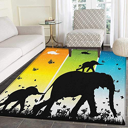 Zoo Non Slip Rugs Magical Fantastic Colorful Nature Abstraction Elephant Butterflies Birds Rural Safari Door Mats for Inside Non Slip Backing 5'x6' ()