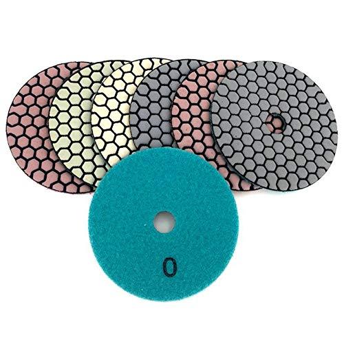SODIAL 6 Pcs 100 Mm Almohadilla de Pulido en Seco 4 Pulgadas Tipo Diamante Almohadillas de Pulido para M/ármol de Granito Disco de Lijado para Piedra