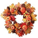 Yezijin Halloween Christmas Wreath, 16Inch Halloween Pumpkin Berry Maple Leaf Fall Door Wreath Door Wall Ornament (A)