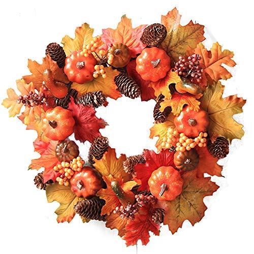 MOSERIAN Halloween Pumpkin Berry Maple Leaf Fall Door Wreath Door Wall Ornament (A) ()