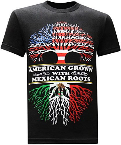 tees geek American Grown Mexican Roots Funny T-Shirt (Medium) - Black - Mexican Funny T-shirts