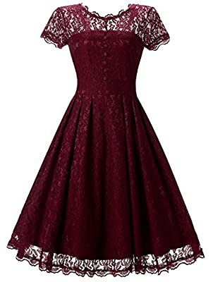 DatingMe Womens Vintage Floral Lace Long and Short Sleeve Wedding Party Dresses Cocktail Swing Dress