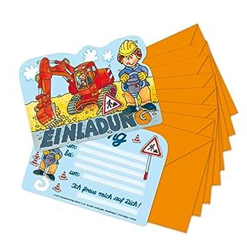 Schön 16 Teiliges Einladungskarten Set * BAGGER U0026 BAUSTELLE * Für Kindergeburtstag  Oder Motto