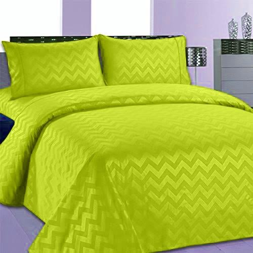 Beverly Hills Chevron Collection 1800 Series Ultra Soft Wrinkle Resistant Solid Color Sheet Set Queen, Lime Green