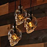NIUYAO Glass Skull Industrial Vintage Retro Style Pendant Light Fixture, Creative 1 Lights Hanging Ceiling Light Chandelier Skull Lamp Fixture