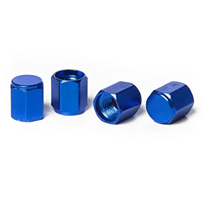 Circuit Performance VC5 Series Blue Aluminum Valve Stem Caps (Set of 4): Automotive