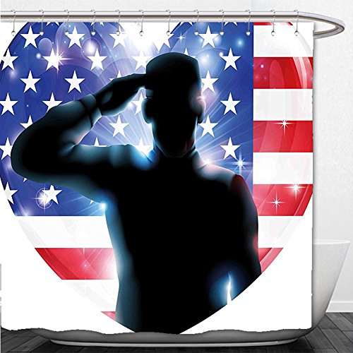 Beshowere Shower Curtain 4th of July Decor Funny French Bulldog with Sunglasses in American Costume Hiding Graphic Art - Sunglasses Fallout 4