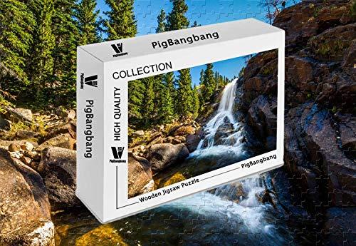 (PigBangbang,Difficult Jigsaw Glue Premium Basswood - Alberta Falls Off of Glacier Creek at Rocky Mountain National Park Co - 300 Piece Jigsaw Puzzle (20.6 X 15.1''))
