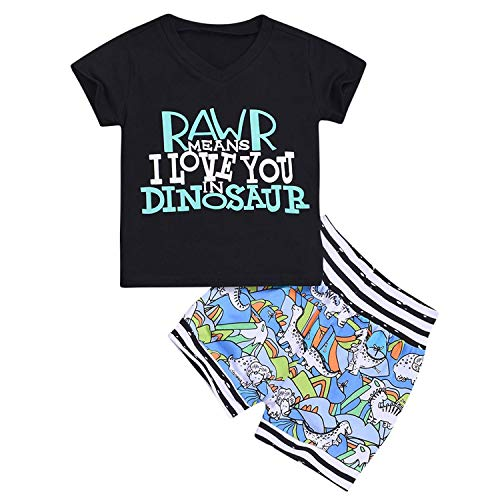 GRNSHTS Baby Boy Summer Shorts Set Infant Boys Short Sleeve T-Shirt + Dinosaur Shorts Outfits (Black Shark, 6-12 Months)