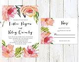 Tropical Floral Wedding Invitation, Spring Wedding Invitation, Pink and Orange Flowers Invitation