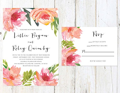 Tropical Floral Wedding Invitation, Spring Wedding Invitation, Pink and Orange Flowers Invitation by Alexa Nelson Prints