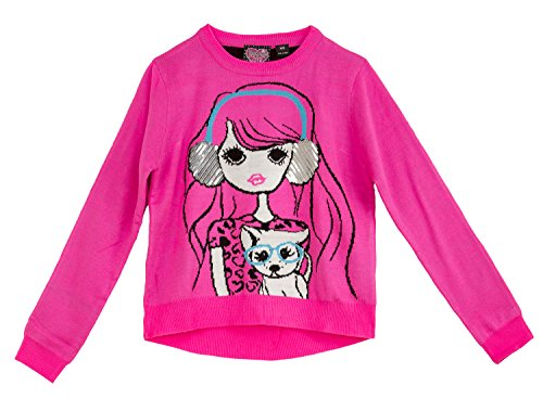 Price comparison product image (9104WXFR) Forever Me Little Girls Headphones Sequin Sweater (4-6X) in Pink Size: (6/6X)
