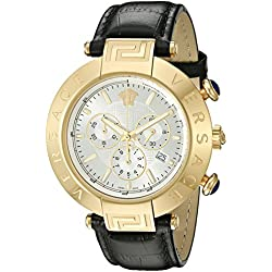 Versace Men's Swiss Quartz Stainless Steel and Leather Casual Watch, Color:Black (Model: VQZ040015)