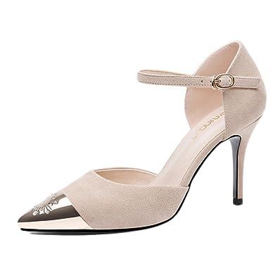 Frau Sexy Schwarz High Heels Mode Sexy Frau Arbeit Gericht Schuhe Hochzeit NachtclubBeige-6.5cm-EU:38/UK:5.5 4ec709