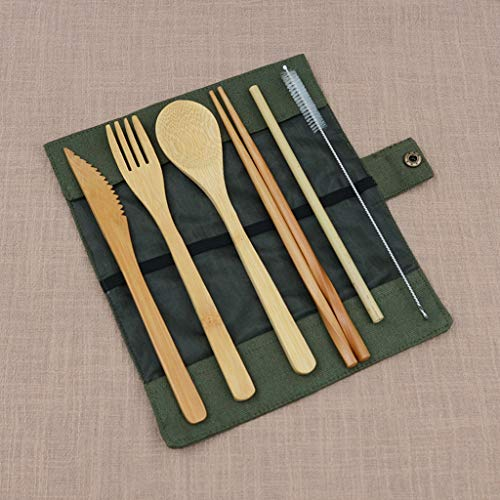❤ Lemoning ❤ Portable Bamboo Dinner Set Travel Eco-friendly Fork Spoon Straw Set With Carryin (Army Green)