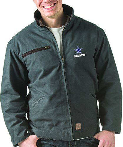 NFL Dallas cowboys Tradesman Canvas Quilt Lined Jacket, Washed Navy, XX-Large by Dunbrooke Apparel