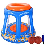 iBaseToy Inflatable Basketball Toys-Tropical Hawaiian Summer Pool Beach Party Favors Giant Floating Hoop Game Set with 2 Balls, 93 x 83cm