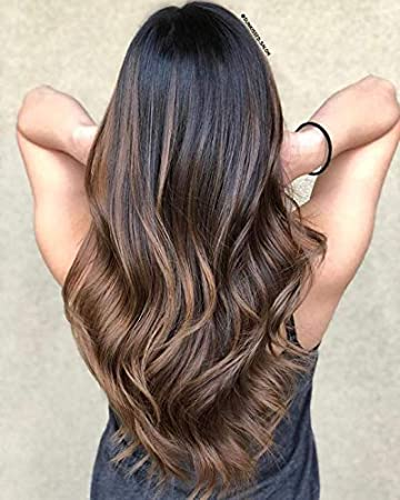 Ugeat 24inch Two Tone Ombre Wig Lace Front Human Hair Color Off Black Fading To Dark Brown 4 Body
