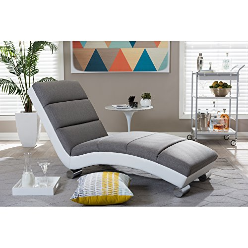 Baxton Studio Percy Modern Contemporary Grey Fabric and White Faux Leather Upholstered Chaise Lounge, Medium (Upholstered Chaise Lounge)