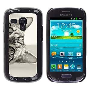 YOYOYO ( NO PARA S3 i9300 ) Smartphone Protección Defender Duro Negro Funda Imagen Diseño Carcasa Tapa Case Skin Cover Para Samsung Galaxy S3 MINI I8190 I8190N - gato lindo gatito curioso shorthair negro