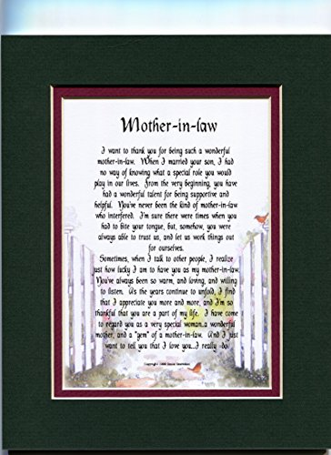 Mother's Day Gift Christmas Birthday Present Poem For A Mother-in-law From A Daughter-in-law. #88