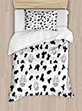 Cow Print Duvet Cover Set,Animal Cow Hide Pattern Doodle Cartoon Children Drawing Farming Husbandry,Cosy House Collection 4 Piece Bedding Sets