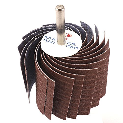 1PC 6mm Shank 320 Grit Wood Sanding Flap Wheels Emery Cloth Silk Wheel Cotton Cloth Polishing Tool