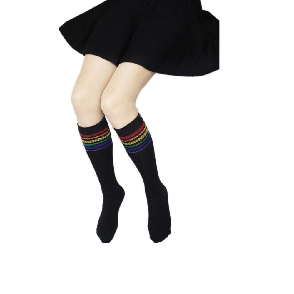 0f4a708af 2 Pairs High Socks Over Knee Thigh Rainbow Stripe Football Sock For Men  Women  Amazon.co.uk  Clothing
