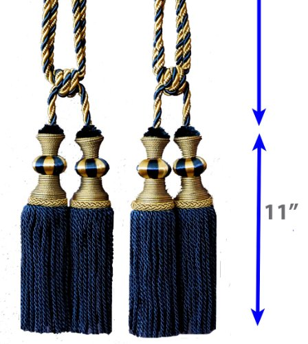 One Pair Decorative Designer's Extra Heavy Long Tie-back Backs #D6 Curtains/drape Double Head Tassels Tapestry Wall Hanging (Tie Back Decorative Tassel)
