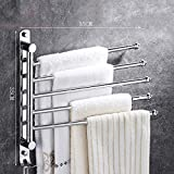 DYY Towel Rack 304 Stainless Steel Towel Bar Multi-function Bathroom/kitchen/toilet Four-bar/five-bar Punch-free Bath Towel Frame (Size : Five pole)