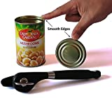Elite Manual Smooth Edge Ergonomic Heavy Duty Stainless Steel Tin Can Opener, Black. Comfortable Soft Grip Silicone Coated Handle. Easy to Turn Knob, Side-Cut Design Without Touching the Food.