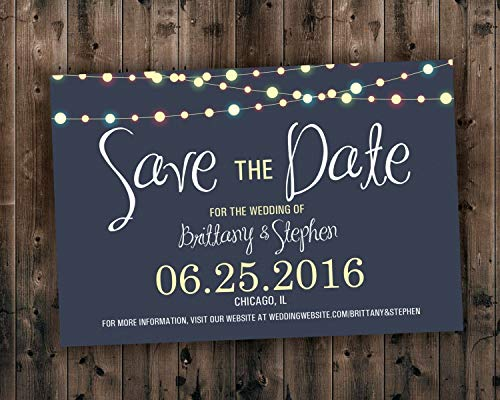 SAVE THE DATE cards, Save the Dates, Lights Save the Date Invite, Postcard, Wedding Announcement, Night, Blue ()