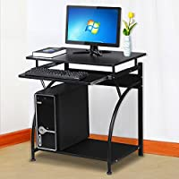 Yaheetech Black Wood Computer Desk with Pullout Keyboard Tray