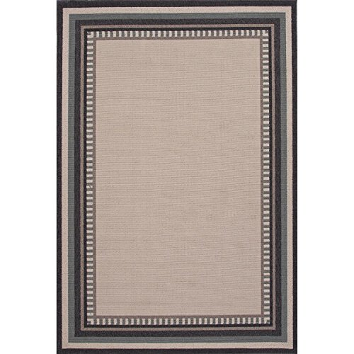 2' x 3.6' Taupe and Steel Gray Boarder Patterned Matted Indoor-Outdoor Area Throw Rug (Outdoor Throw Rugs)