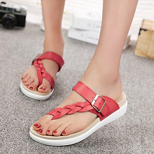 Minetom Mujer Verano Thong Sandals Bohemia Clip de Hebilla Playa Casa Sandalias Planas Tacón Bajo Chanclas Rojo