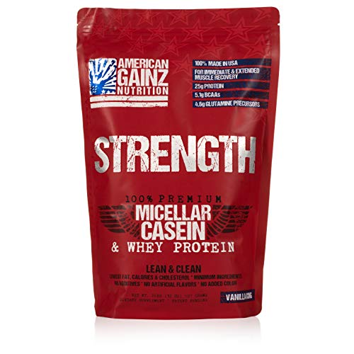 Strength – 100 American Made 1 Premium Casein Protein from Idaho Farms 5.1 Grams BCAAs No Fillers – Leanest Cleanest Grass Fed Cows