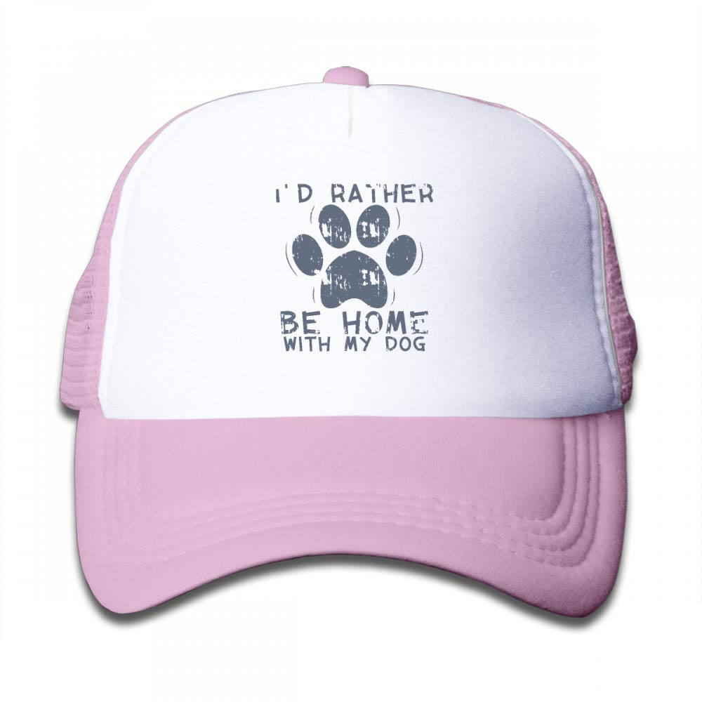 NO4LRM Kid's Boys Girls I'd Rather Be Home with My Dog Youth Mesh Baseball Cap Summer Adjustable Trucker Hat