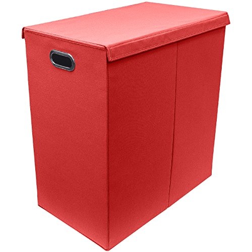 Sorbus Laundry Hamper Sorter with Lid Closure – Foldable Double Hamper, Detachable Lid and Divider, Built-In Handles for Easy Transport - Double (Red) (Laundry Divider Basket)