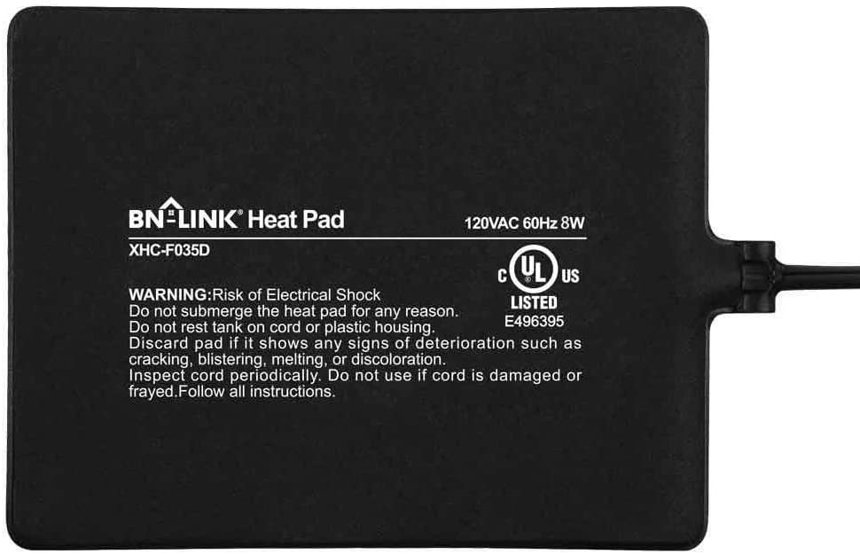 BN-LINK Pet Heating Pad Electric Indoor Heating Mat Waterproof for Turtles, Lizards, Frogs, and Other Reptiles, 6