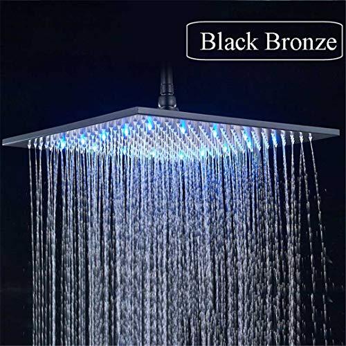Batheusry Black Bronze 16 Inch Rainfall Shower Head Square Led Light Shower Faucet Head 40Cm Brass Rainfall Shower Head Black with led