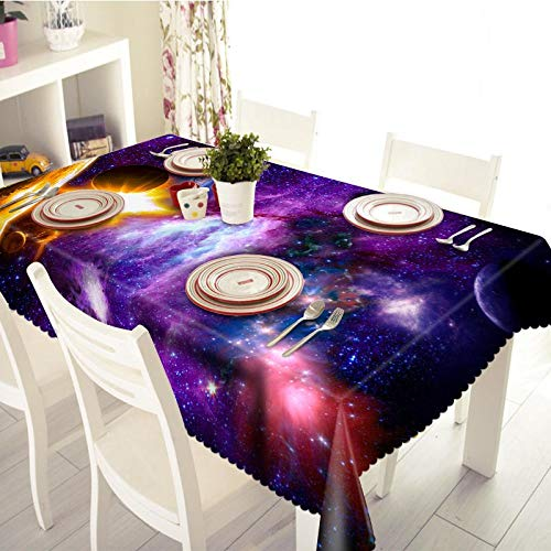 Senisaihon 3D Tablecloth 7 planets in Space Pattern Waterproof/oil-proof Thicken Polyester Rectangular Table cloth Home Textiles  Color 3 B07SNXBK17