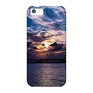 MWAder Premium Protective Hard Case For Iphone 5c- Nice Design - Sunset Over Water